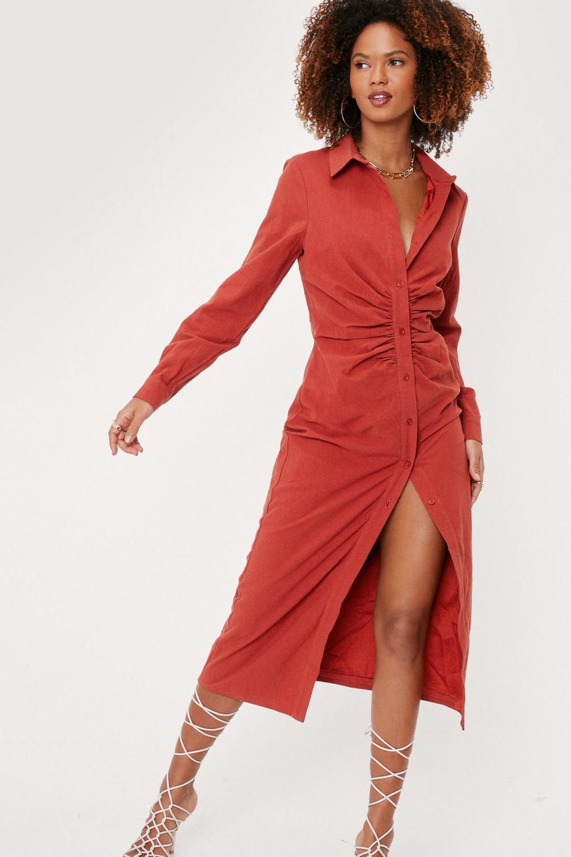 Red midi shirt dress