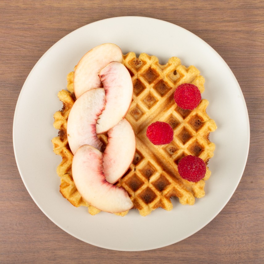 Peach waffles on a plate