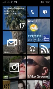 This is the home screen of Richard's Nokia Windows Phone 8.1