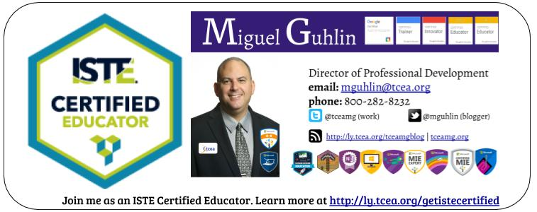 Miguel Guhlin Signature Image with ISTE Certification Badge