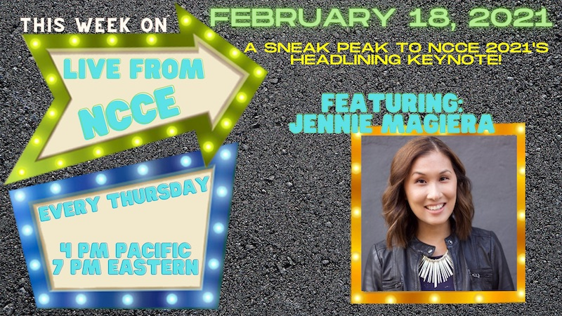 This Thursday! Live from NCCE: A Sneak Peak to NCCE 2021's Headlining Keynote Jennie Magiera @MsMagiera