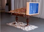 Charge, 2013, Shards (residue from a 16mm film in which two 5-foot columns of plate were broken) potatoes, diodes, cyanotype, Amber Ginsburg