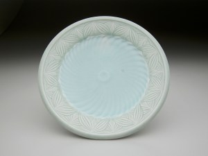 "Adam Field 6.5""L x 6.5""W x 1""H reduction fired porcelain with carved pattern and various celadon glazes"