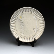 Ben Carter Honeysuckle Plate, 2012, Yixing Stoneware fired to Cone 6, H 0.75 in. x W 6.5 in. x D 6.5 in. Thrown and decorated with porcelain slip, under glaze and glaze.