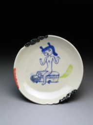 """Kevin Snipes Get on the Bus Plate, 2014, 1.5"""" x 8.5 x 8.5, porcelain"""