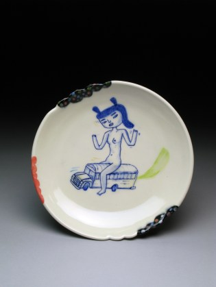 "Kevin Snipes Get on the Bus Plate, 2014, 1.5"" x 8.5 x 8.5, porcelain"