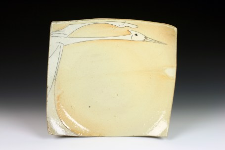Matthew Krousey Crane Plate, 2013, soda-fired stoneware, cone 10, flashing slip and stains 9 x 9.5 x 2.25