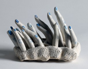 "Bonnie Smith, ""Mud'ra"" 2014, porcelain, cobalt, glaze, 7 x 4 x 6″"