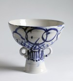 "Francis Palmer, ""Footed Bowl with Two Handles"" 2014, porcelain, cobalt, glaze, 6 x 6 x 7.5″."