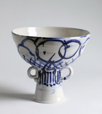 """Francis Palmer, """"Footed Bowl with Two Handles"""" 2014, porcelain, cobalt, glaze, 6 x 6 x 7.5″."""