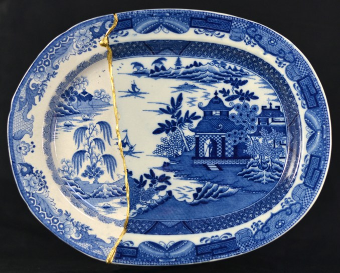 "Paul Scott, ""Cumbrian Blue(s), Garden No:2 (after Turner and Stephenson) 2014, Staffordshire transferware with Chinese porcelain, gold leaf, tile cement, epoxy resin, 12.5 x 10.25″."