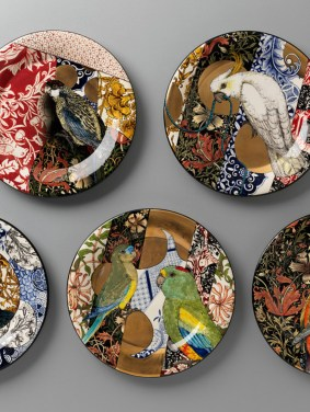 S Bowers William-Morris-(camouflage-plates)-dinner-set detail LW