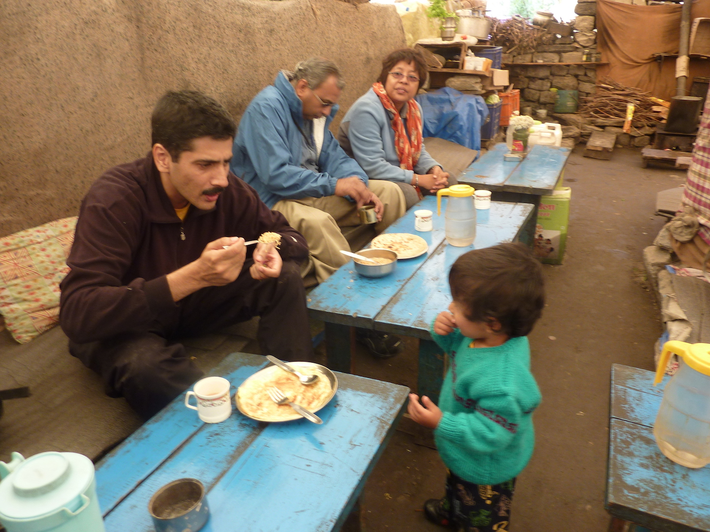 The same stone benches in Rawat's cafe at Chattru - on a different trip, some 15 years later!