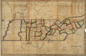 1818 map of Tennessee by John Melish, based on surveys by John Strother.