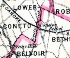 Conetoe on 1886 map