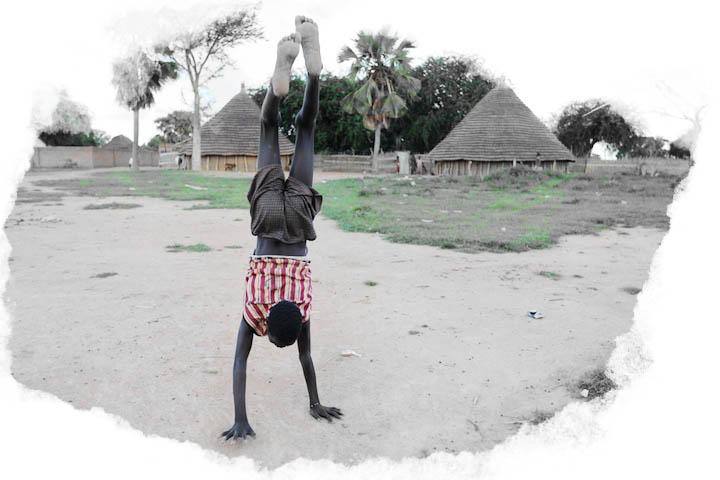 Handstand in rural S. Sudan