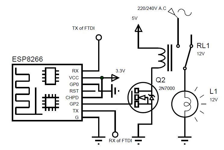 Control an A.C Light Bulb over the Internet Using ESP8266