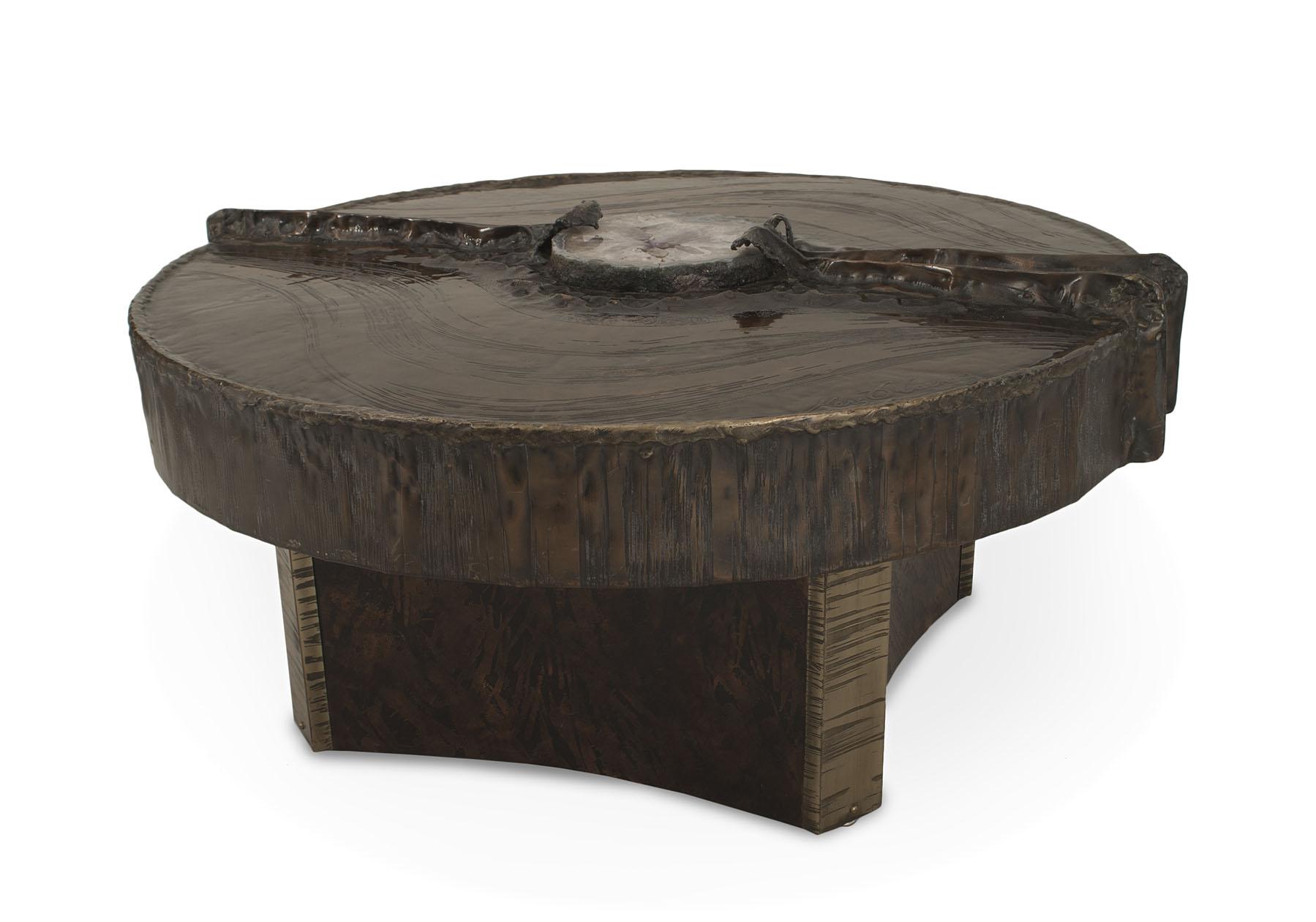 Belgian Post War Copper And Quartz Coffee Table