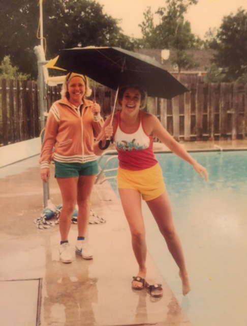 Sherry in front of Pool (years ago)