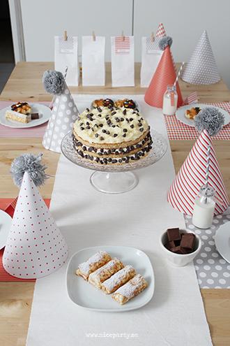 Nice Party: Cumpleaños infantil naranja y gris merienda