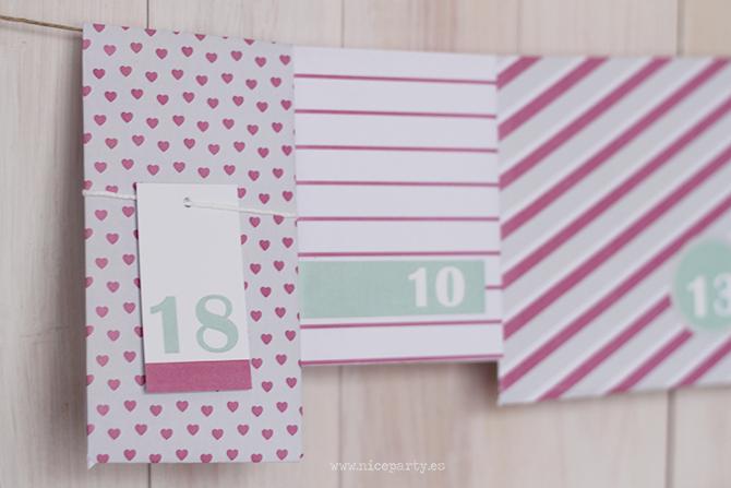 Papel estampado para descargar Nice Party calendario de adviento DIY