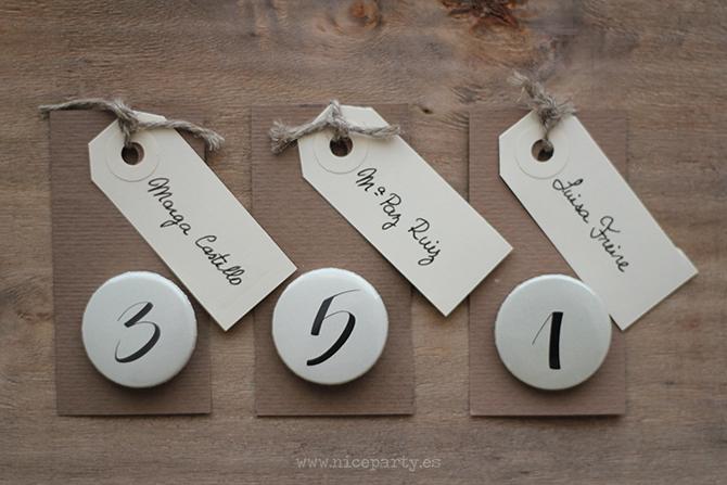 Nice Party chapas personalizadas sitting plan para el dia de tu boda