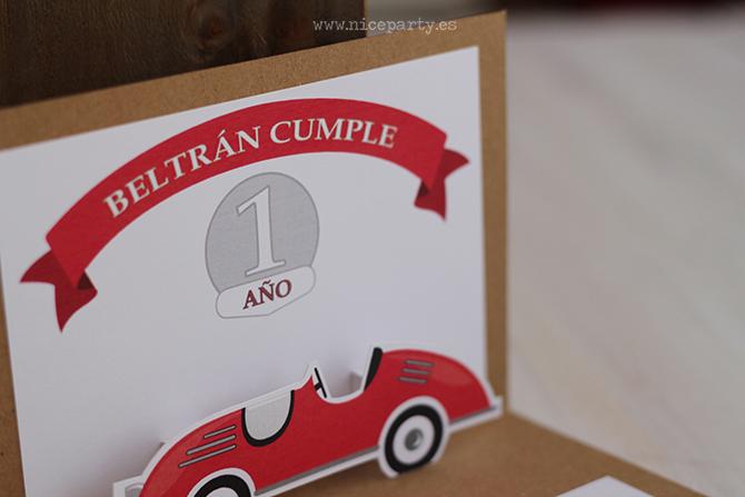 NiceParty cumpleaños vintage coche rojo invitación