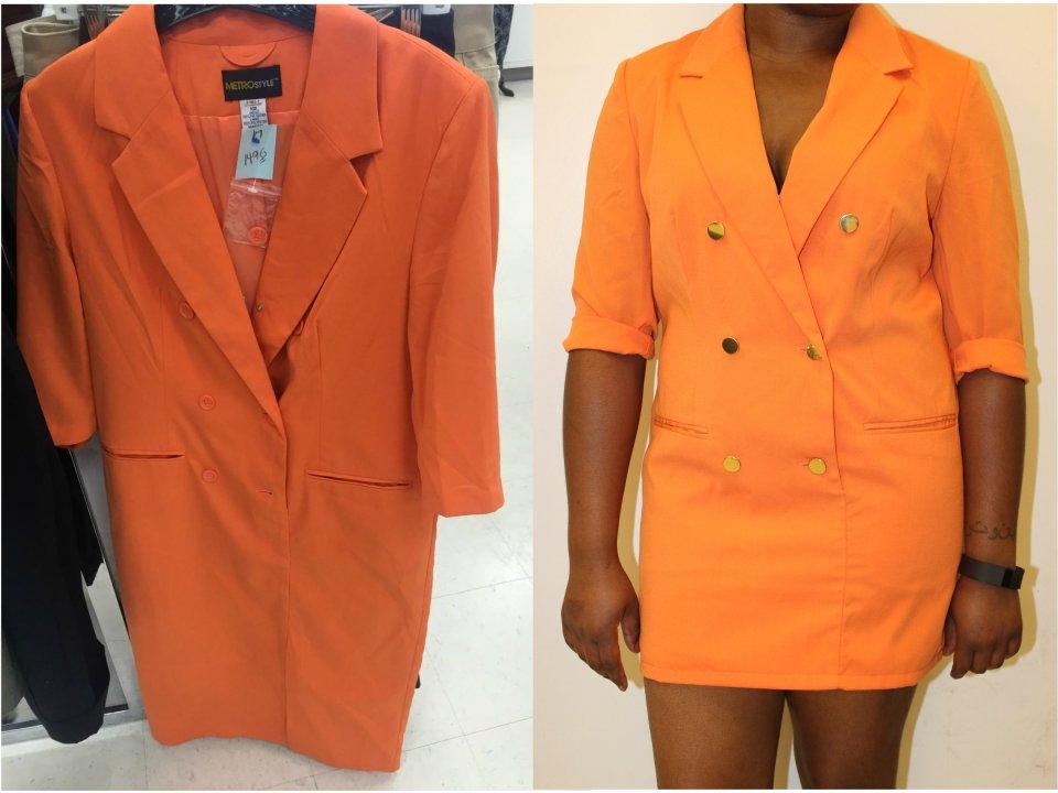 orange blazer dress revamp