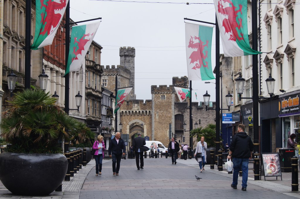 Downtown Cardiff with castle in background