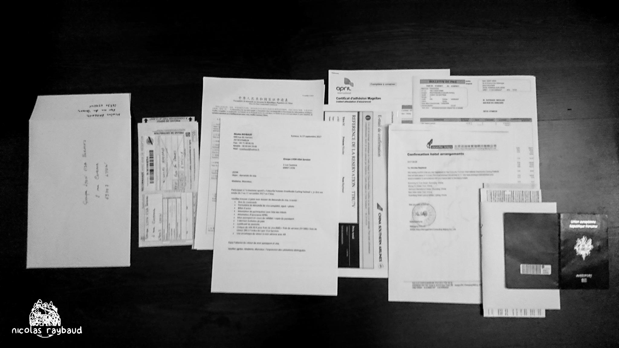 document visa pour la chine