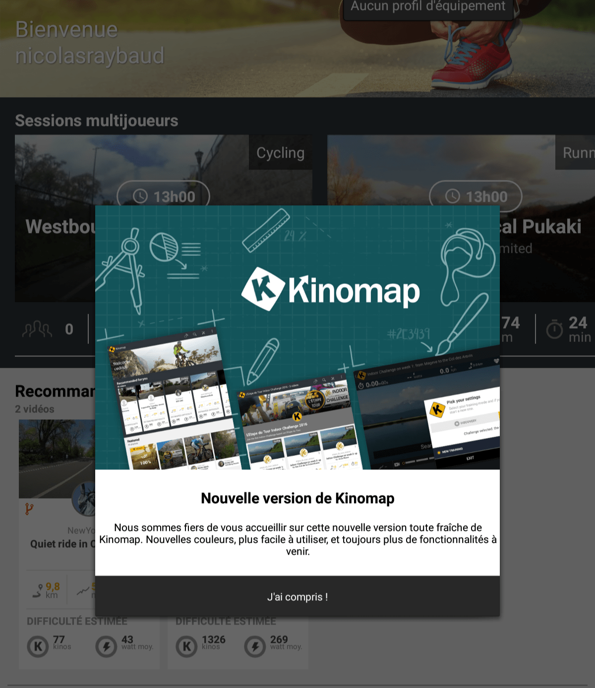 nouvelle version application cyclisme kinomap