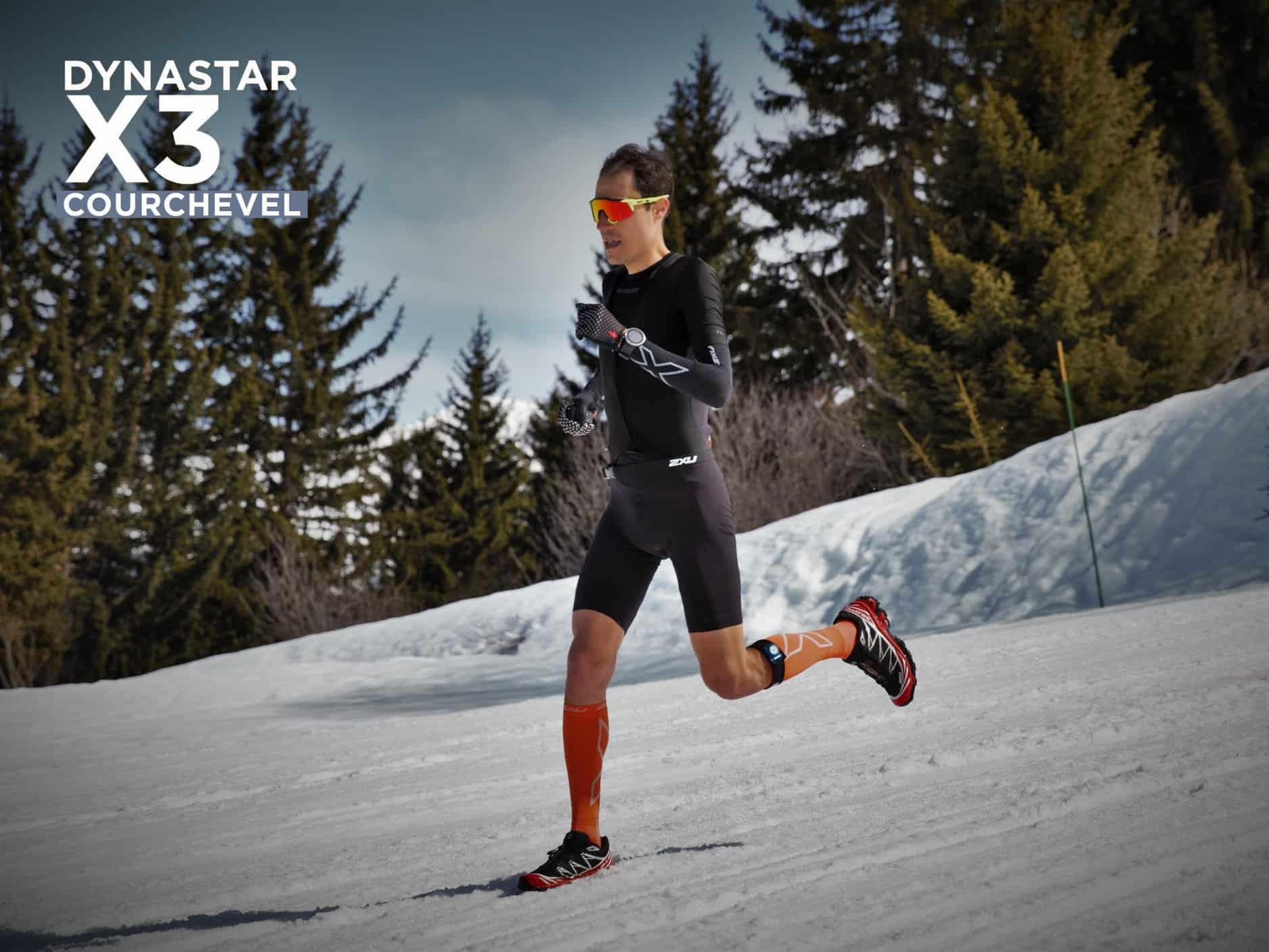 nicolas raybaud en trail au triathlon dynastar X3 courchevel