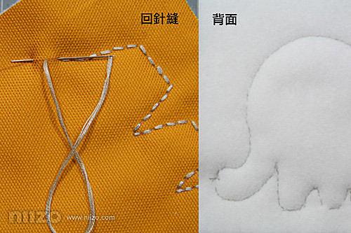 3.回針縫。將帆布與厚鋪棉使用回針縫法沿著圖案的線條一針針縫好,因為有厚鋪棉的關係,圖案會有點膨膨的,比較有立體感。另一面圖案也是使用回針縫,因為希望帆布與厚舖棉緊密的黏在一起,我是使用同一片厚鋪棉來製作,所以縫製另一面的圖案要小心挑針,就是稍稍有挑到鋪棉就要出針,免得正面看到背面出針的線。