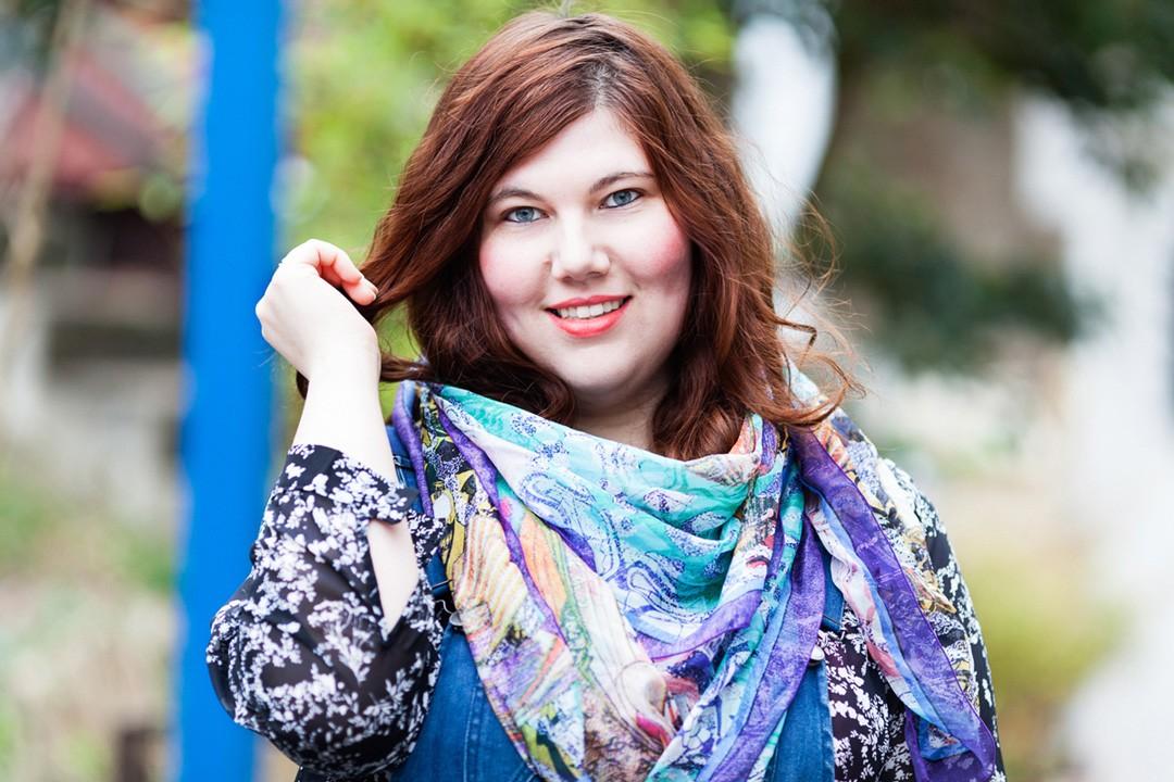 carré d'amour, foulard, ninaah bulles, soasoa, salopette, grande taille, blogeuse ronde