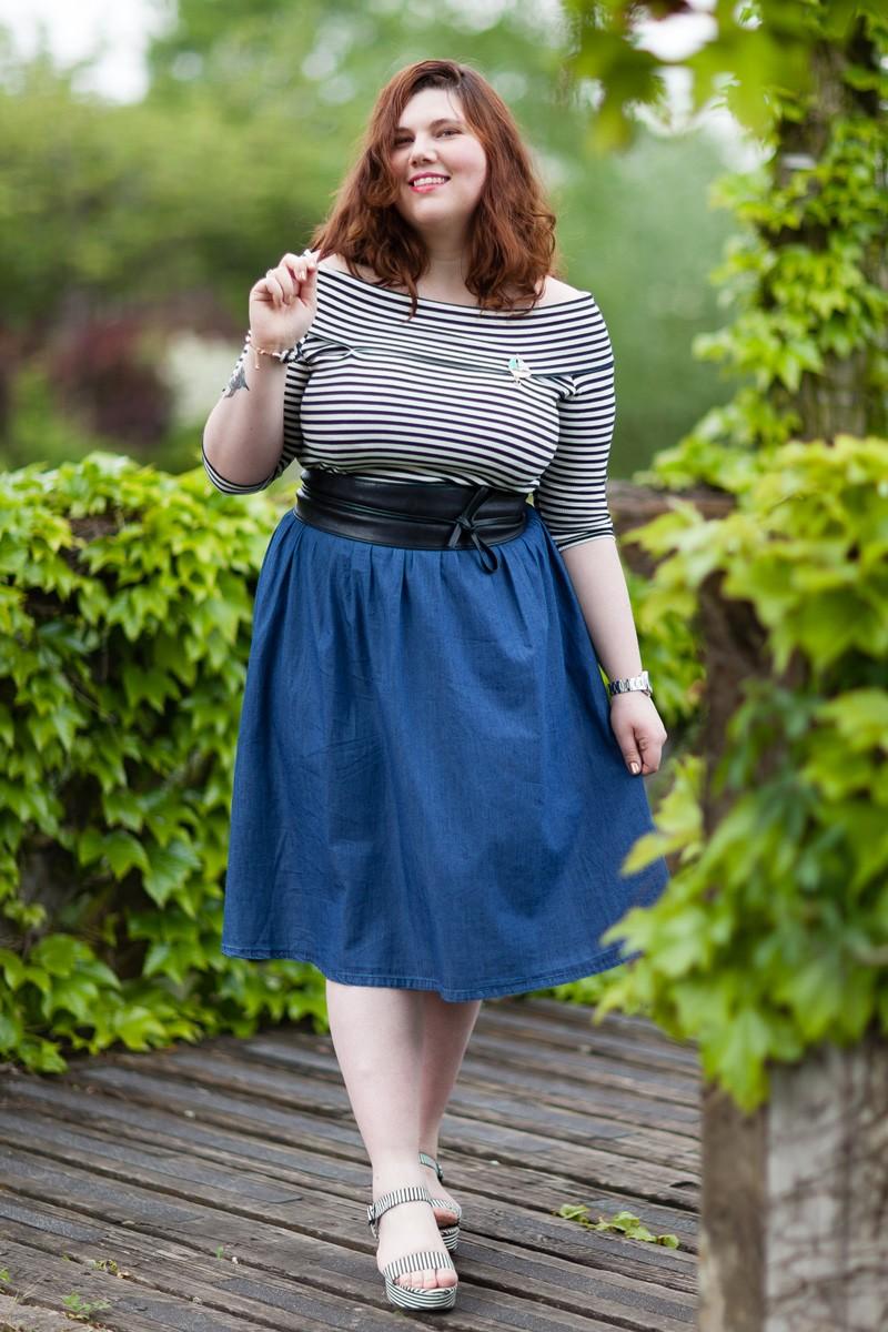Marinière, jean, jupe, french curves, ninaah bulles, ronde, curvy, look