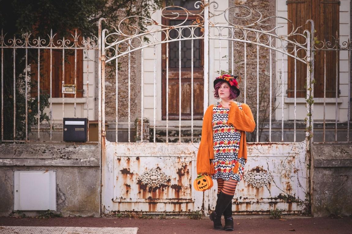 Ninaah Bulles, Halloween, witch, sorcière, costume, citrouille, pumkin, grande taille, curvy, ronde, look, automne, octobre