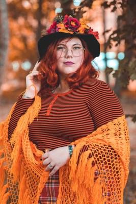 ninaah bulles, citrouilles, citrouille, halloween, sorciere, grande taille, shein, c et a, look, ginger hair, witch, shein plussize