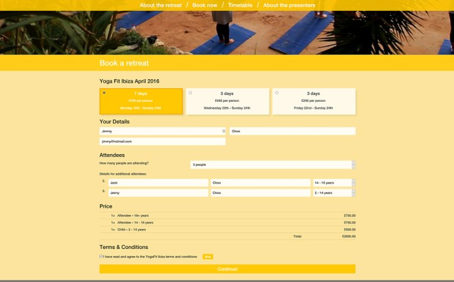 YogaFit Ibiza Booking Form