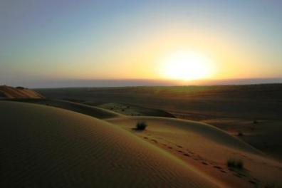 Sonnenuntergang in der Wahiba Wüste