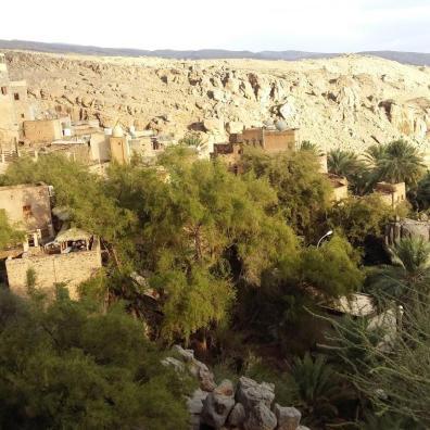Aussicht auf das Dorf Misfat Al Abryeen