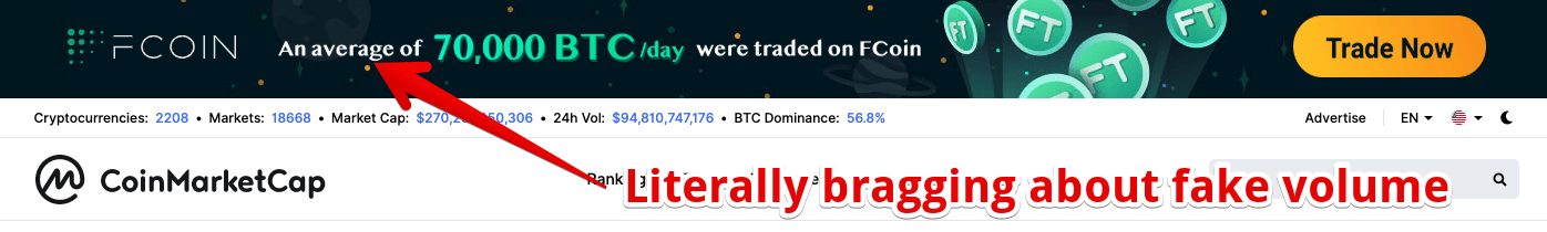FCoin's May of 2019 Premier Placement Ad Placement on CoinMarketCap