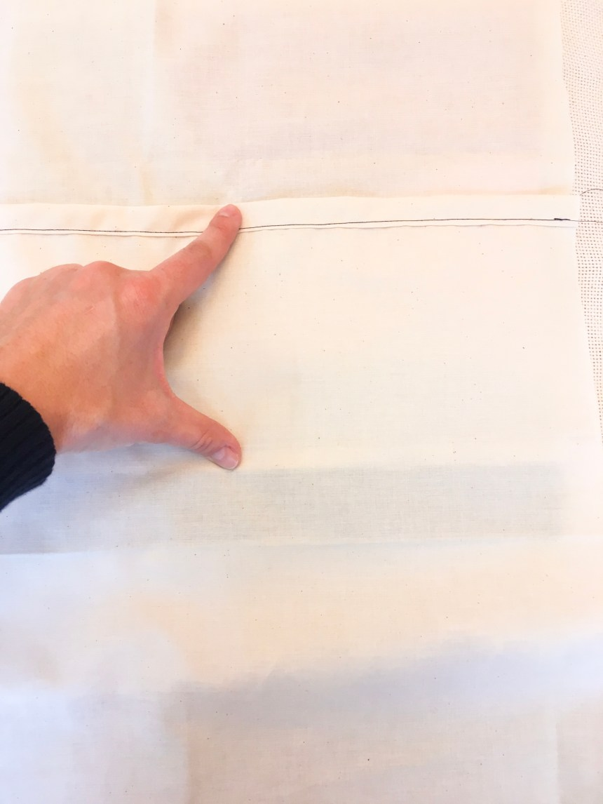 Lay envelop backing fabric with a 5 inch overlap
