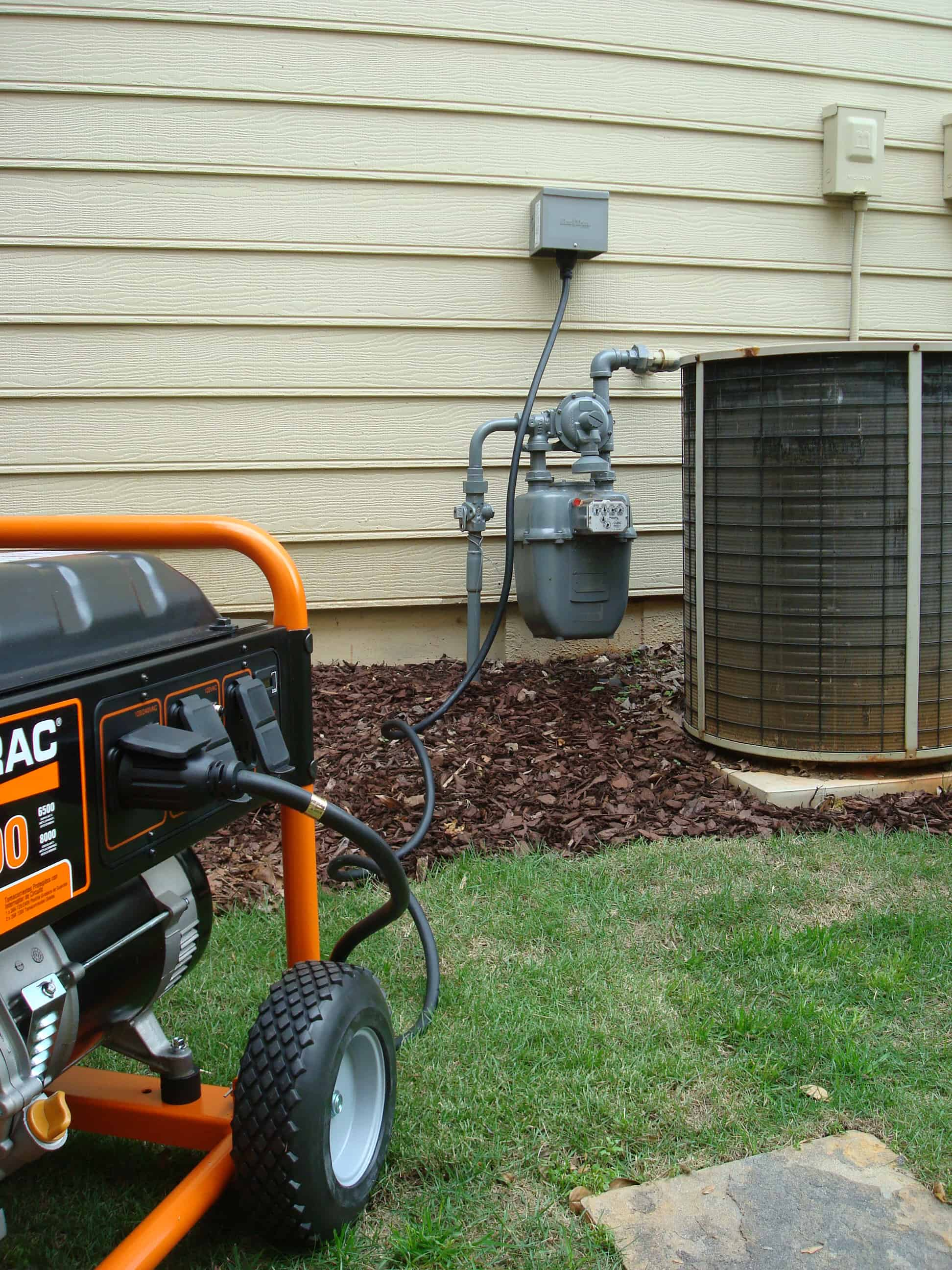 hight resolution of a generator connected to a house with a dedicated cable and inlet box