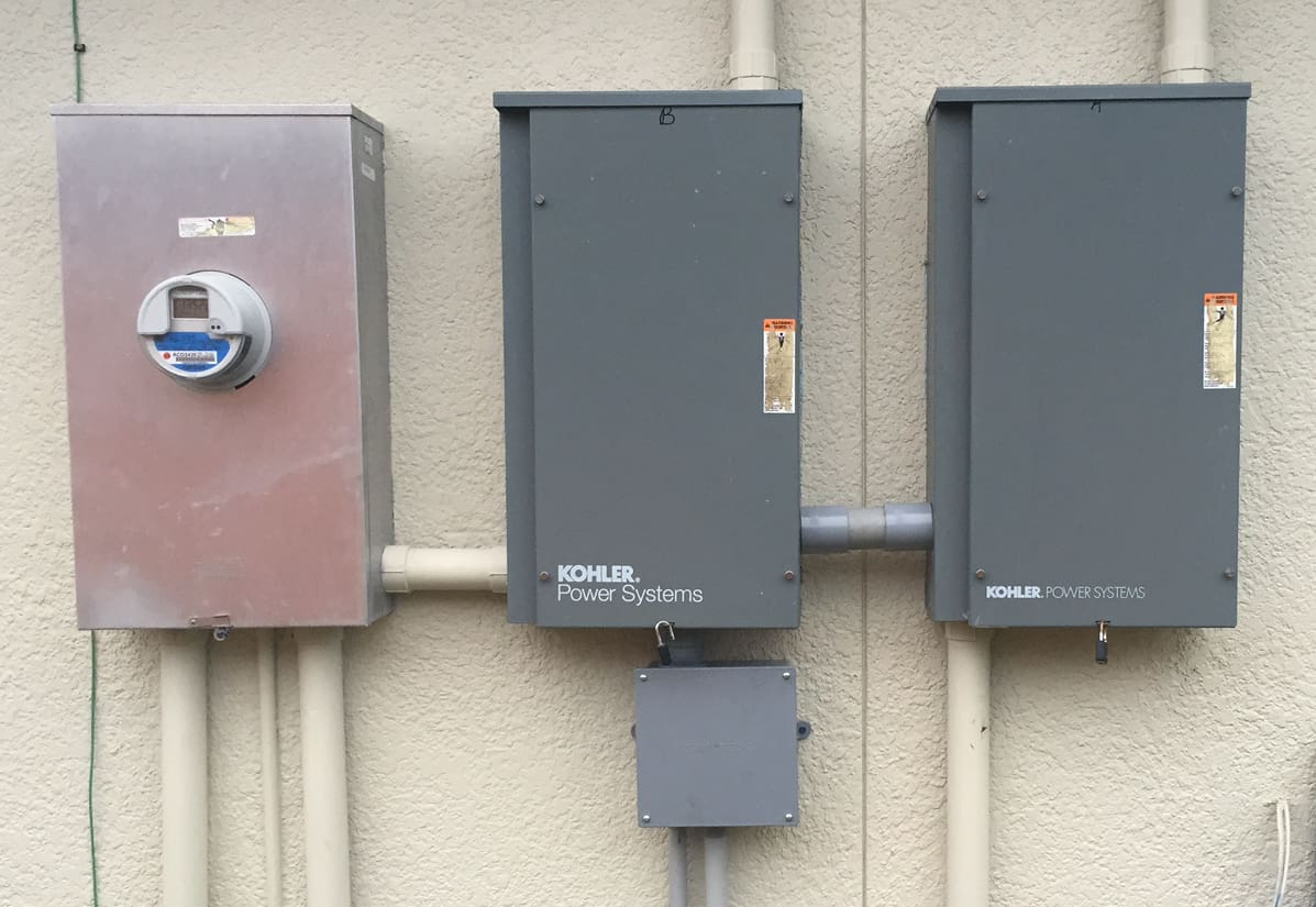 generac whole house generator wiring diagram 2 gang switch lights installation of two automatic transfer switches for a standby kohlertransfer installed on one
