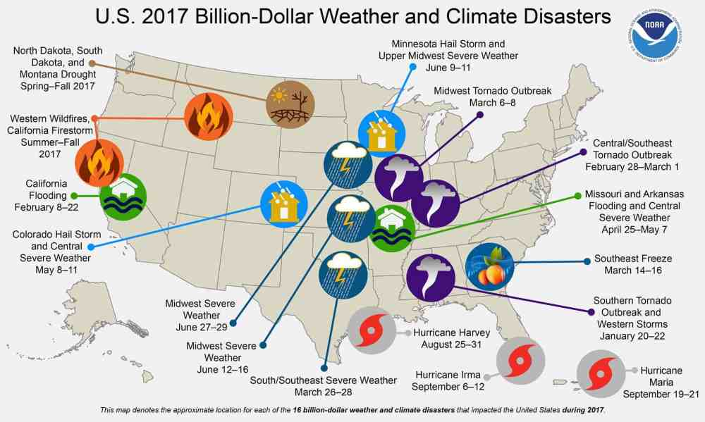 medium resolution of graphic detailing the weather disasters from 2017