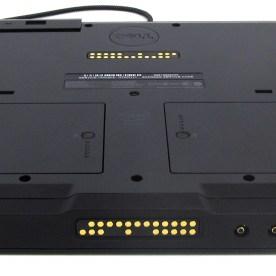 Kontakte für Dockingstation/Tastatur (unten) und modulare Erweiterung (hinten)