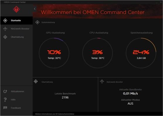 Das OMEN Command Center zeigt euch den aktuellen PC-Status an