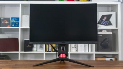 Der Monitor lässt sich 12 cm in der Höhe verstellen