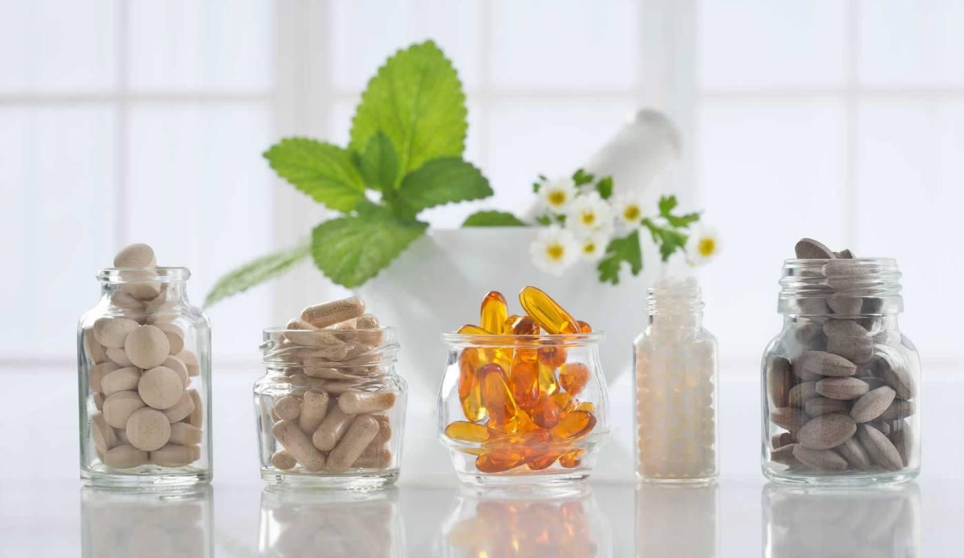 Image of Vitamins in glass jars