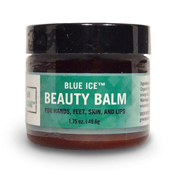 A bottle of Green Pasture Blue Ice Beauty Balm for hands, feet skin and lips.